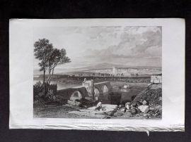 Roscoe 1834 Antique Print. Pont Beneze and Villeneuve, France